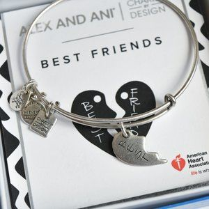 "Alex and Ani Silver ""Best"" Friends Heart Bracelet"